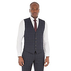 Racing Green - Navy check wool blend tailored fit waistcoat