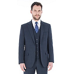 Jeff Banks - Blue check wool blend 2 button regular fit travel suit