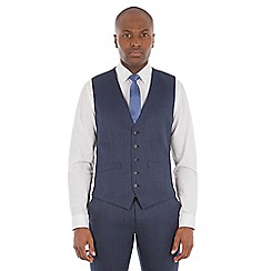 Ben Sherman - Deep blue micro wool blend tailored fit waistcoat