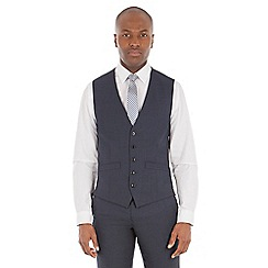 Ben Sherman - Navy borken check wool blend tailored fit waistcoat