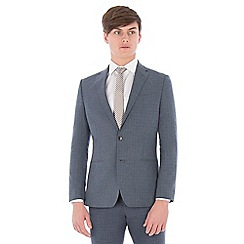 Ben Sherman - Blue broken check linen wool blend slim fit suit jacket
