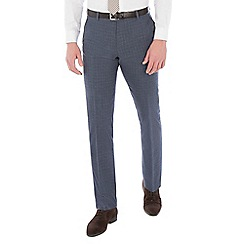 Ben Sherman - Blue broken check linen wool blend slim fit suit trouser