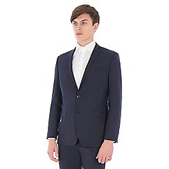 Ben Sherman - Navy blue gingham wool blend slim fit suit jacket