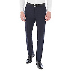 Ben Sherman - Navy blue wool blend gingham slim fit trouser