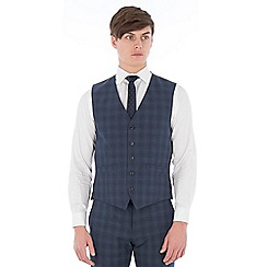 Ben Sherman - Airforce blue wool blend check waistcoat