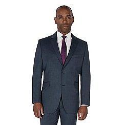 Centaur Big & Tall - Blue semi plain pure wool regular fit jacket
