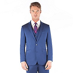 Ben Sherman - Bright blue plain pure new wool 2 button front slim fit kings suit jacket