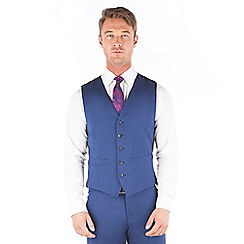 Ben Sherman - Bright blue plain pure new wool slim fit kings suit waistcoat