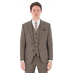 Red Herring - Oatmeal donegal slim fit suit