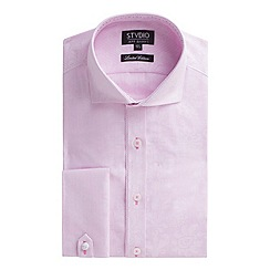 Stvdio by Jeff Banks - Limited Edition pink jacquard stripe shirt