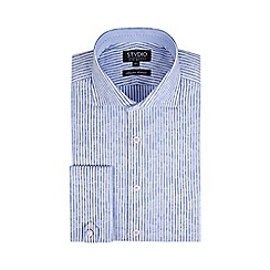 Stvdio by Jeff Banks - Limited Edition Blue Floral Jacquard Stripe Shirt