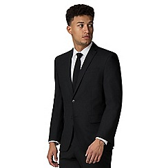 Racing Green - Plain black twill athletic fit suit