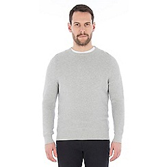 Jeff Banks - Grey marl textured crew neck jumper