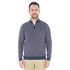 Jeff Banks - Blue textured half zip jumper