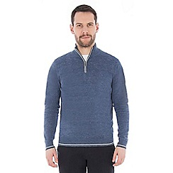 Jeff Banks - Blue melange half zip jumper