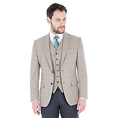 Racing Green - Oatmeal with orange check wool blend tailored fit suit