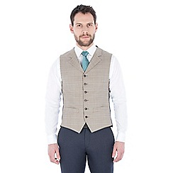 Racing Green - Oatmeal with orange check wool blend tailored fit lapel waistcoat