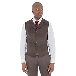 Racing Green - Navy brown gingham wool blend tailored fit lapel waistcoat