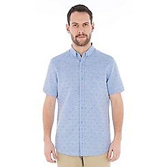 Jeff Banks - Blue dobby linen mix shirt