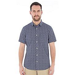 Jeff Banks - Navy trellis print shirt