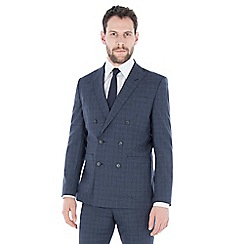 J by Jasper Conran - Blue jaspe check pure wool tailored fit double breasted jacket