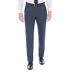 J by Jasper Conran - Blue jaspe check pure wool tailored fit trousers