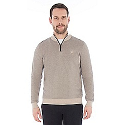 Jeff Banks - Beige textured half zip jumper