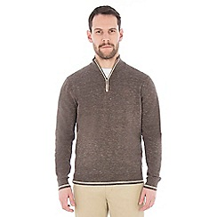 Jeff Banks - Brown melange half zip jumper