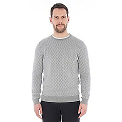 Jeff Banks - Grey diamond weave crew neck jumper