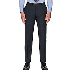 Hammond & Co. by Patrick Grant - Blue tonal check wool blend plain front tailored fit suit trouser