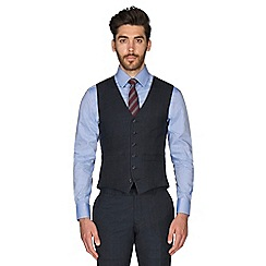 Hammond & Co. by Patrick Grant - Blue tonal check wool blend 6 button tailored fit suit waistcoat