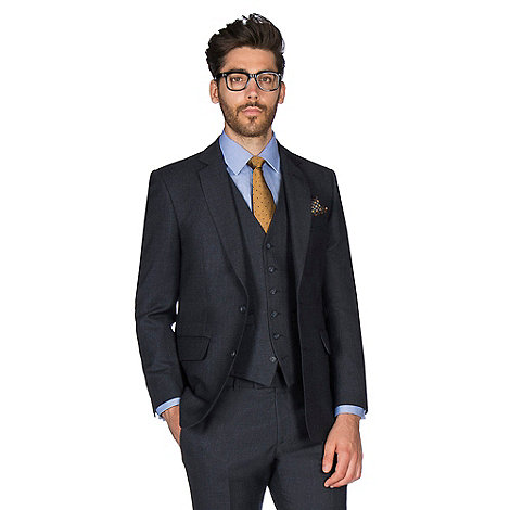 Hammond & Co. - Navy grid semi plain wool blend 2 button front tailored fit St. James suit