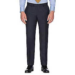 Hammond & Co. by Patrick Grant - Navy grid semi plain wool blend plain front tailored fit suit trouser