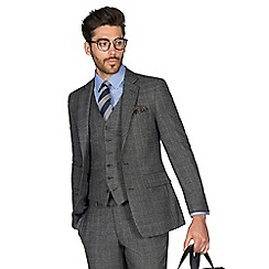 Hammond & Co. by Patrick Grant - Grey with caramel overcheck wool blend 2 button front tailored fit St. James suit jacket