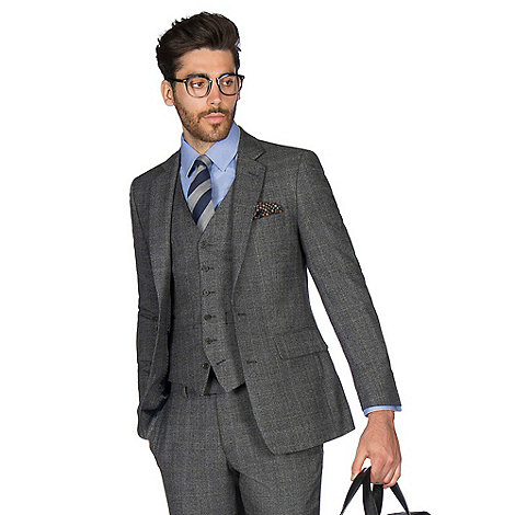 Hammond & Co. - Grey with caramel overcheck wool blend 2 button front tailored fit St. James suit
