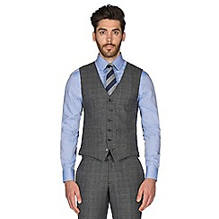 Hammond & Co. by Patrick Grant - Grey with caramel overcheck wool blend 6 button tailored fit suit waistcoat