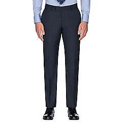 Hammond & Co. by Patrick Grant - Navy check with caramel wool blend plain front tailored fit suit trouser