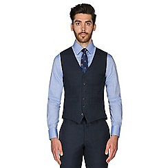Hammond & Co. by Patrick Grant - Navy with caramel check wool blend 6 button tailored fit suit waistcoat