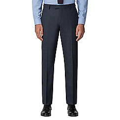 Racing Green - Dark blue textured tailored trousers
