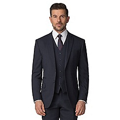 Stvdio by Jeff Banks - Blue textured 2 button tailored fit performance suit