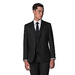 The Collection - Dark grey bridseye tailored fit suit