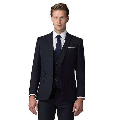 The Collection - Navy broken check tailored fit suit