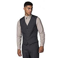Red Herring - Navy heritage check slim fit waistcoat