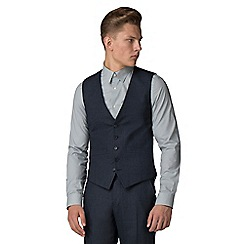 Ben Sherman - Navy waffle weave tailored waistcoat