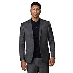 Ben Sherman - Charcoal blue gingham slim fit suit