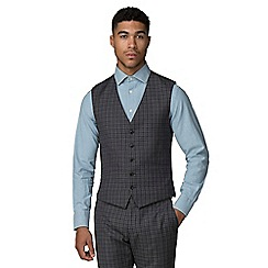 Ben Sherman - Charcoal blue gingham slim fit waistcoat