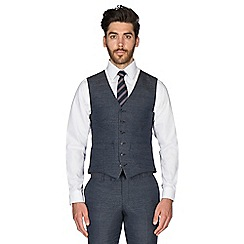 Hammond & Co. by Patrick Grant - Slate blue puppytooth wool blend 6 button tailored fit suit waistcoat