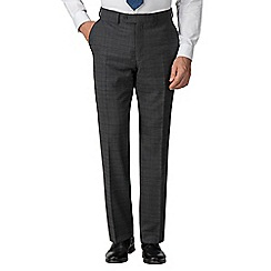Jeff Banks - Grey check wool blend flat front regular fit travel suit trousers