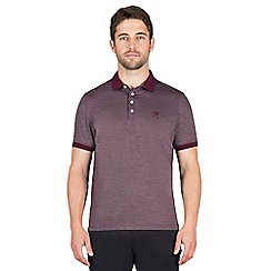Jeff Banks - Plum textured stitch polo shirt