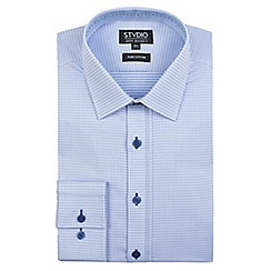 Stvdio by Jeff Banks - Light blue diamond spot dobby shirt